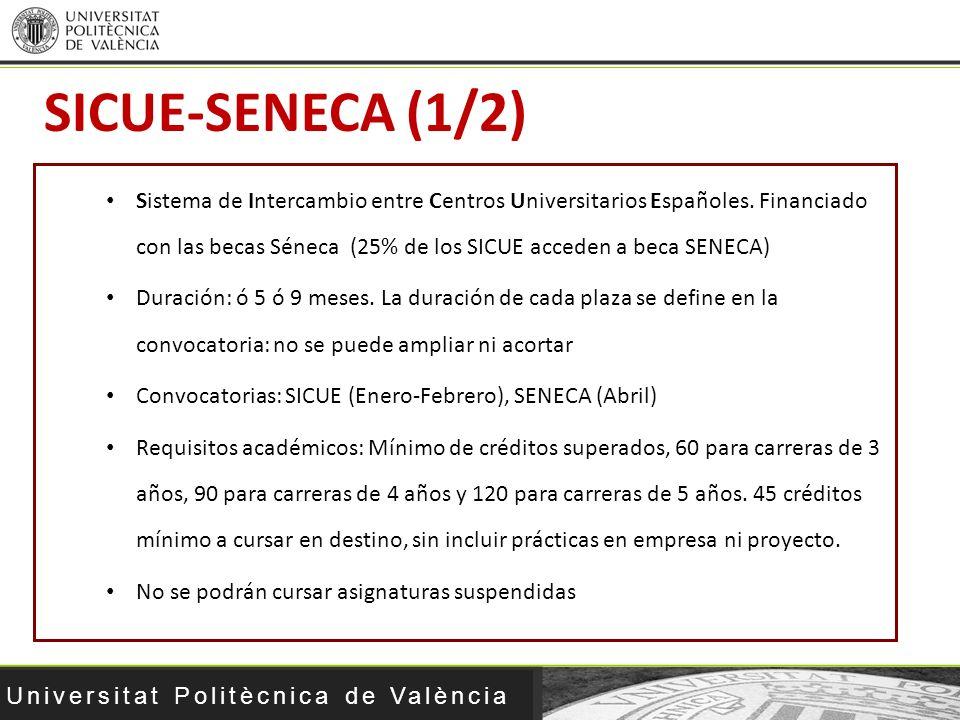 Universitat Politècnica de València SICUE-SENECA (1/2) Sistema de Intercambio entre Centros Universitarios Españoles. Financiado con las becas Séneca