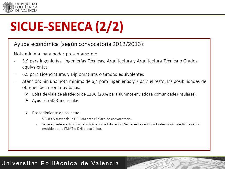 Universitat Politècnica de València Ayuda económica (según convocatoria 2012/2013): Nota mínima para poder presentarse de: -5.9 para Ingenierías, Inge