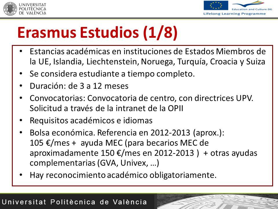 Universitat Politècnica de València Erasmus Estudios (1/8) Estancias académicas en instituciones de Estados Miembros de la UE, Islandia, Liechtenstein