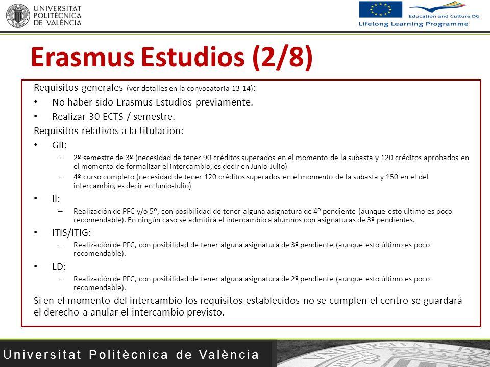 Universitat Politècnica de València Requisitos generales (ver detalles en la convocatoria 13-14) : No haber sido Erasmus Estudios previamente. Realiza
