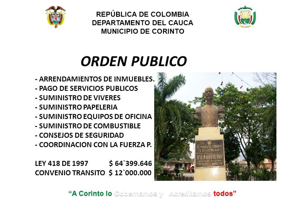 ORDEN PUBLICO - ARRENDAMIENTOS DE INMUEBLES.