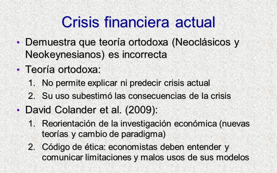 Crisis financiera actual Demuestra que teoría ortodoxa (Neoclásicos y Neokeynesianos) es incorrecta Demuestra que teoría ortodoxa (Neoclásicos y Neoke
