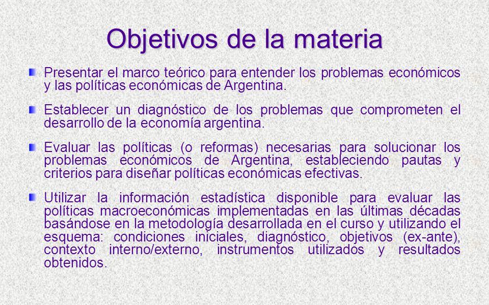 Objetivos de la materia Presentar el marco teórico para entender los problemas económicos y las políticas económicas de Argentina.