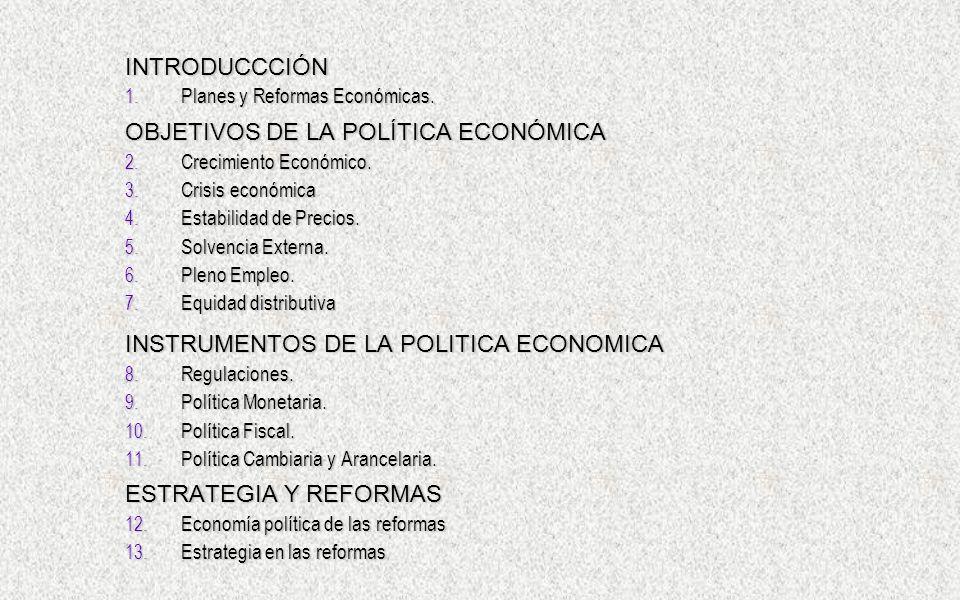 INTRODUCCCIÓN 1. Planes y Reformas Económicas. OBJETIVOS DE LA POLÍTICA ECONÓMICA 2. Crecimiento Económico. 3. Crisis económica 4. Estabilidad de Prec