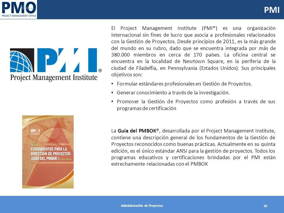 Administración de Proyectos 10 PMI El Project Management Institute (PMI®) es una organización internacional sin fines de lucro que asocia a profesionales relacionados con la Gestión de Proyectos.