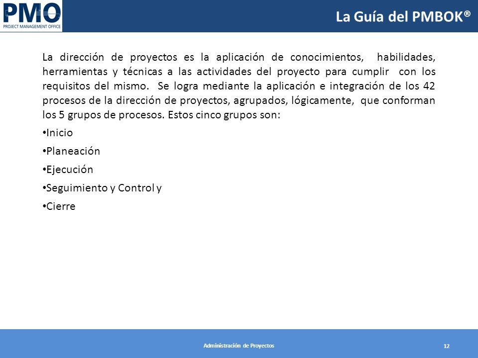 Administración de Proyectos 12 La Guía del PMBOK® La dirección de proyectos es la aplicación de conocimientos, habilidades, herramientas y técnicas a