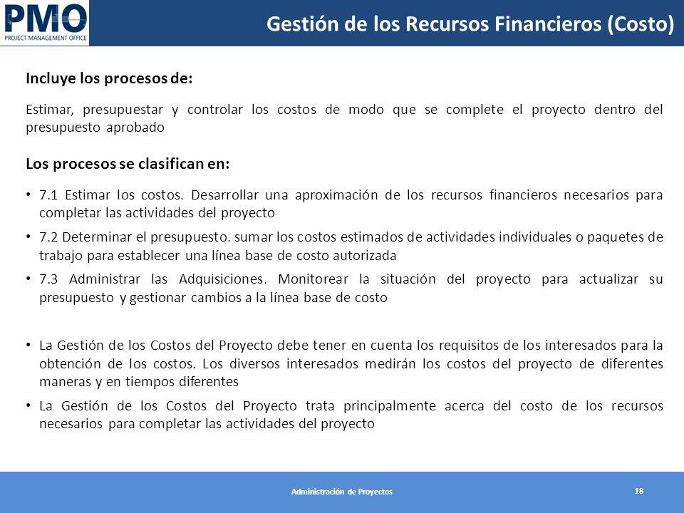 Gestión de los Recursos Financieros (Costo) 18 Administración de Proyectos Incluye los procesos de: Estimar, presupuestar y controlar los costos de modo que se complete el proyecto dentro del presupuesto aprobado Los procesos se clasifican en: 7.1 Estimar los costos.