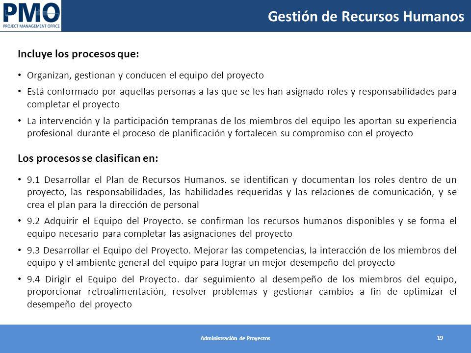 Gestión de Recursos Humanos 19 Administración de Proyectos Incluye los procesos que: Organizan, gestionan y conducen el equipo del proyecto Está confo