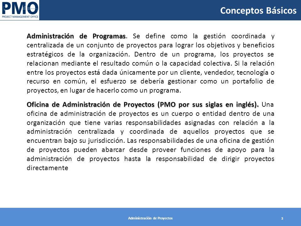 Administración de Proyectos 3 Administración de Programas Administración de Programas. Se define como la gestión coordinada y centralizada de un conju