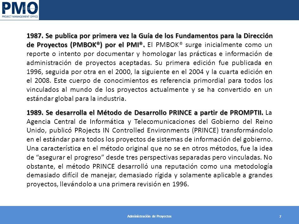 Administración de Proyectos 7 1987. Se publica por primera vez la Guía de los Fundamentos para la Dirección de Proyectos (PMBOK®) por el PMI®. 1987. S