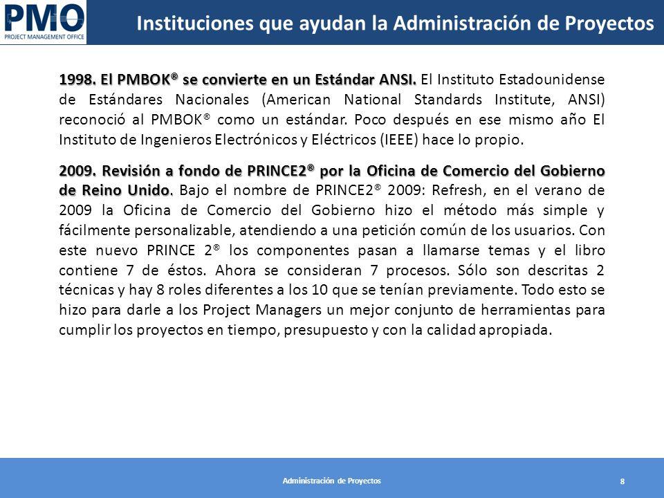 Administración de Proyectos 8 1998. El PMBOK® se convierte en un Estándar ANSI. 1998. El PMBOK® se convierte en un Estándar ANSI. El Instituto Estadou