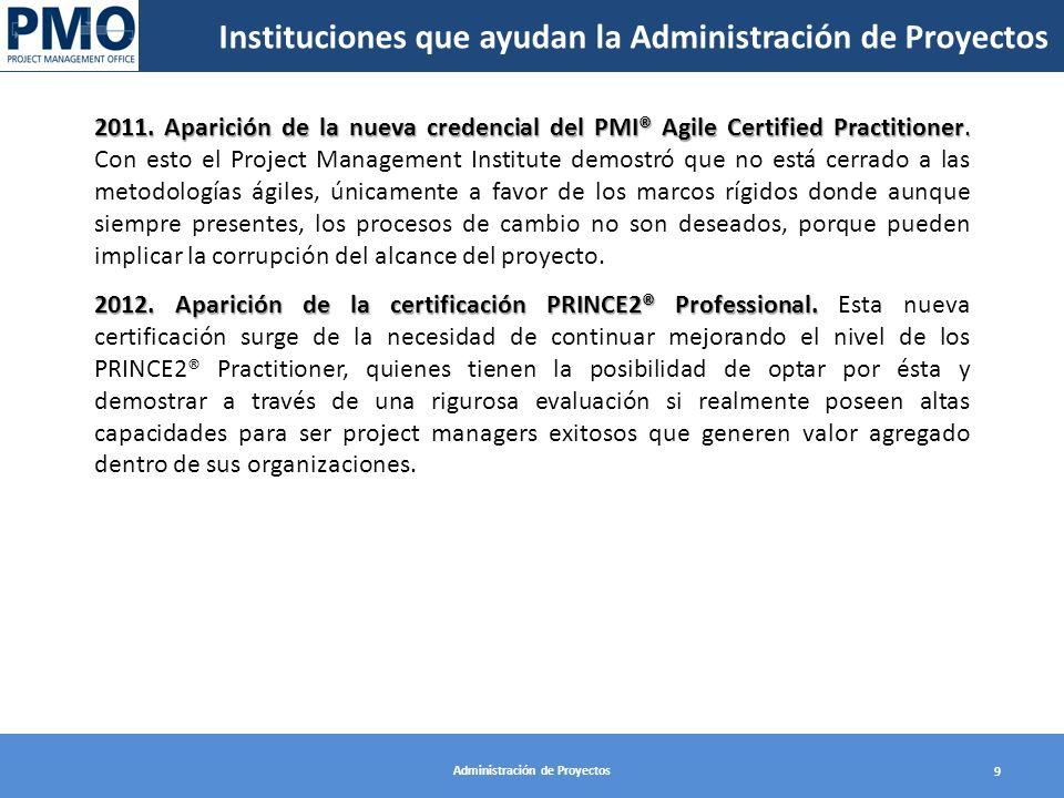 Administración de Proyectos 9 2011. Aparición de la nueva credencial del PMI® Agile Certified Practitioner. 2011. Aparición de la nueva credencial del