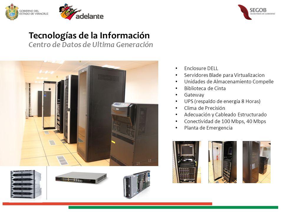 Tecnologías de la Información Centro de Datos de Ultima Generación Enclosure DELL Servidores Blade para Virtualizacion Unidades de Almacenamiento Comp