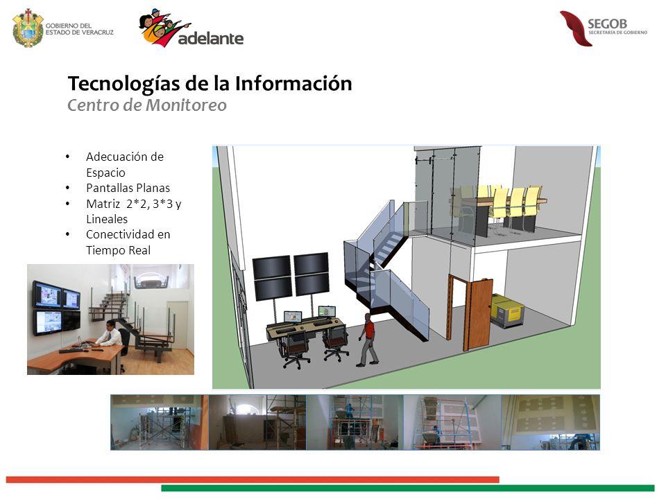 Tecnologías de la Información Centro de Monitoreo Adecuación de Espacio Pantallas Planas Matriz 2*2, 3*3 y Lineales Conectividad en Tiempo Real