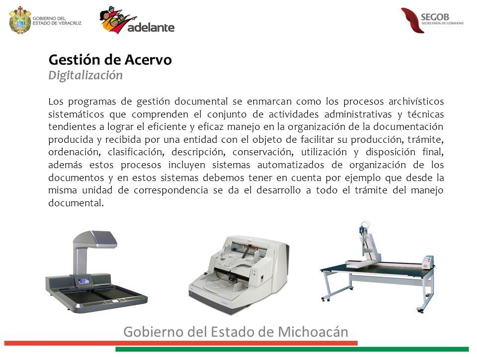 Gestión de Acervo Digitalización Los programas de gestión documental se enmarcan como los procesos archivísticos sistemáticos que comprenden el conjun