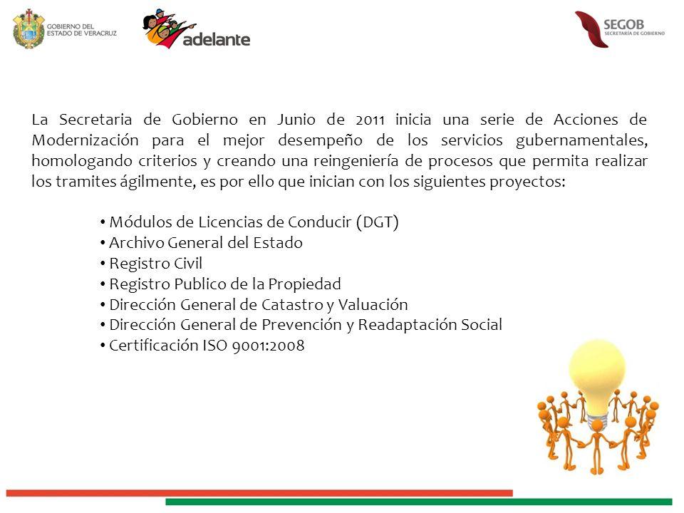 La Secretaria de Gobierno en Junio de 2011 inicia una serie de Acciones de Modernización para el mejor desempeño de los servicios gubernamentales, homologando criterios y creando una reingeniería de procesos que permita realizar los tramites ágilmente, es por ello que inician con los siguientes proyectos: Módulos de Licencias de Conducir (DGT) Archivo General del Estado Registro Civil Registro Publico de la Propiedad Dirección General de Catastro y Valuación Dirección General de Prevención y Readaptación Social Certificación ISO 9001:2008