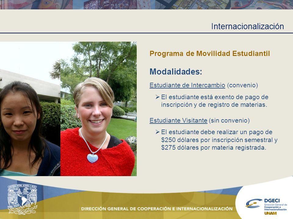 Internacionalización Programa de Movilidad Estudiantil Modalidades: Estudiante de Intercambio (convenio) El estudiante está exento de pago de inscripc
