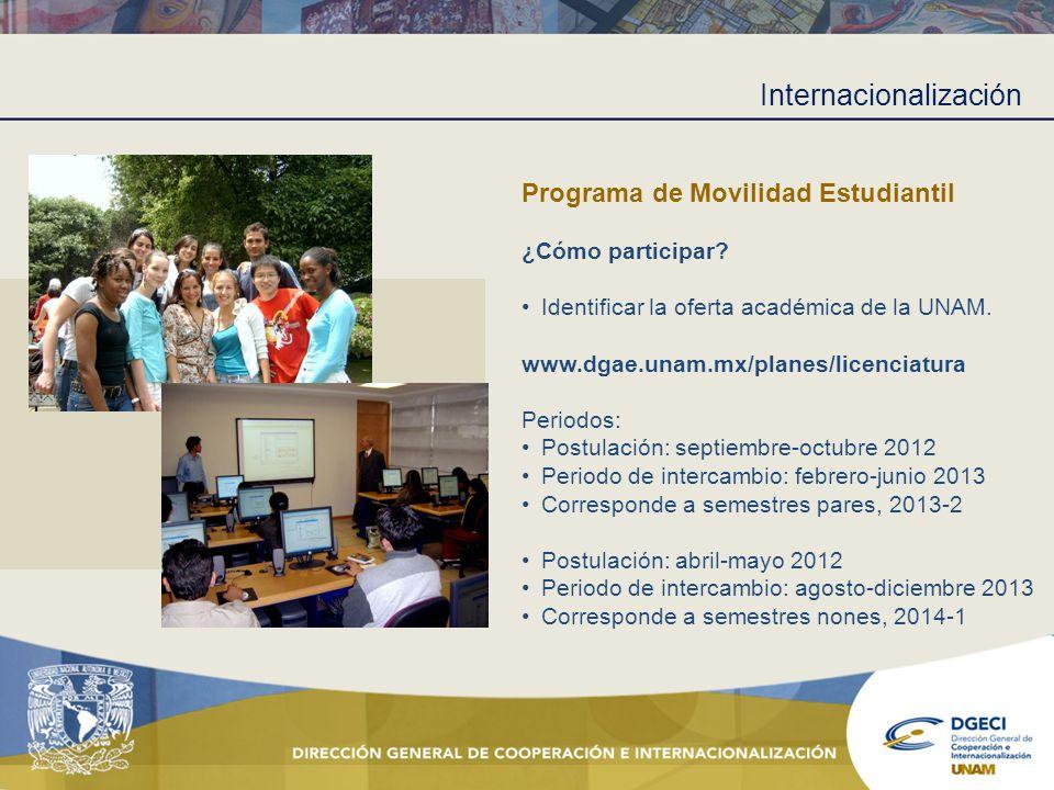 Internacionalización Programa de Movilidad Estudiantil ¿Cómo participar? Identificar la oferta académica de la UNAM. www.dgae.unam.mx/planes/licenciat