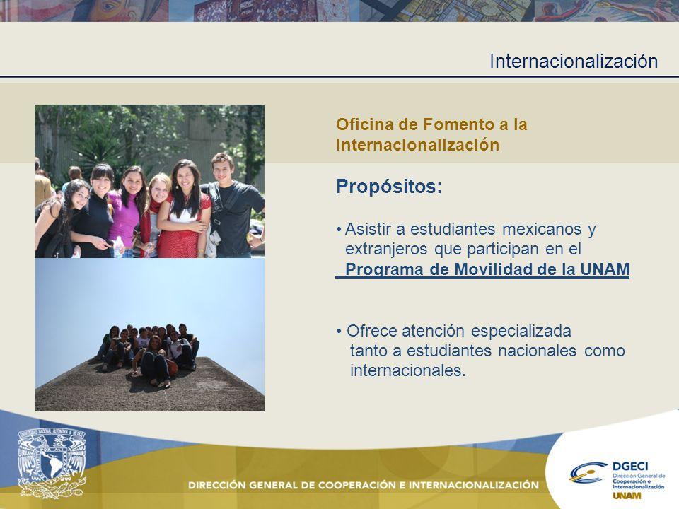 Internacionalización Oficina de Fomento a la Internacionalización Propósitos: Asistir a estudiantes mexicanos y extranjeros que participan en el Progr