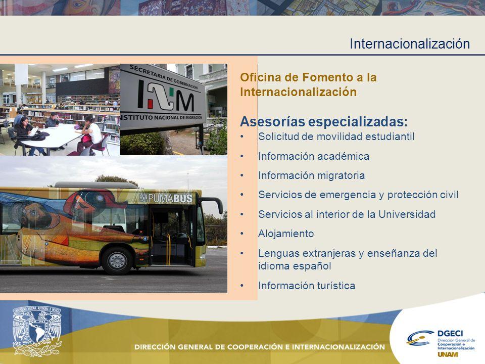 Internacionalización Oficina de Fomento a la Internacionalización Asesorías especializadas: Solicitud de movilidad estudiantil Información académica I