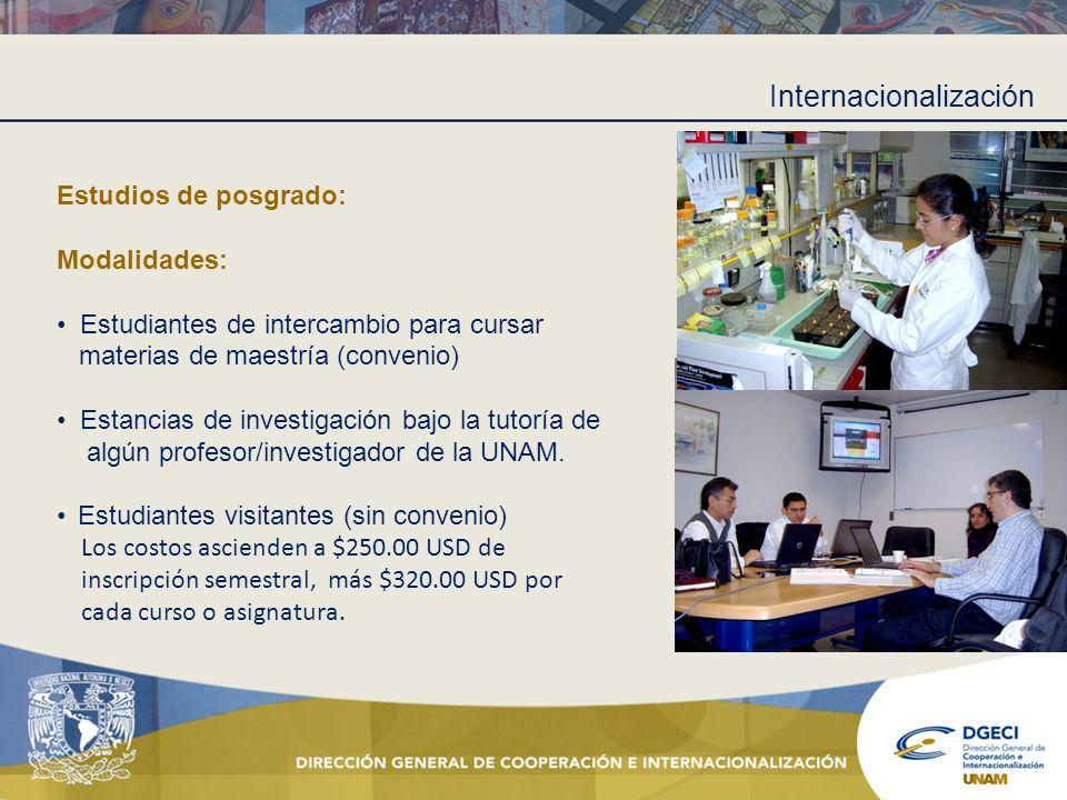 Internacionalización Estudios de posgrado: Modalidades: Estudiantes de intercambio para cursar materias de maestría (convenio) Estancias de investigac