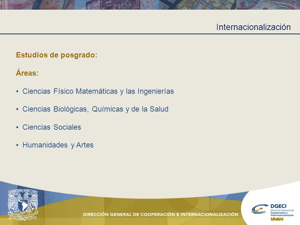 Internacionalización Estudios de posgrado: Áreas: Ciencias Físico Matemáticas y las Ingenierías Ciencias Biológicas, Químicas y de la Salud Ciencias S