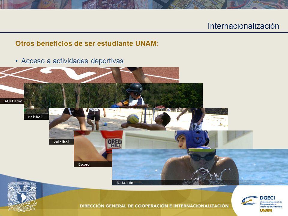Internacionalización Otros beneficios de ser estudiante UNAM: Acceso a actividades deportivas