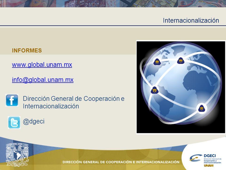 Internacionalización INFORMES www.global.unam.mx info@global.unam.mx Dirección General de Cooperación e Internacionalización @dgeci