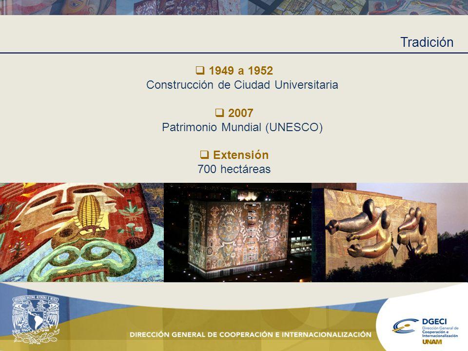 Tradición 1949 a 1952 Construcción de Ciudad Universitaria 2007 Patrimonio Mundial (UNESCO) Extensión 700 hectáreas