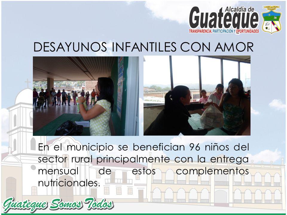 DESAYUNOS INFANTILES CON AMOR En el municipio se benefician 96 niños del sector rural principalmente con la entrega mensual de estos complementos nutricionales.