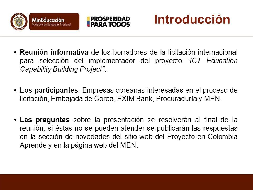 Reunión informativa de los borradores de la licitación internacional para selección del implementador del proyecto ICT Education Capability Building P