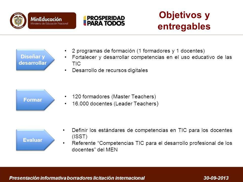 Objetivos y entregables 2 programas de formación (1 formadores y 1 docentes) Fortalecer y desarrollar competencias en el uso educativo de las TIC Desa