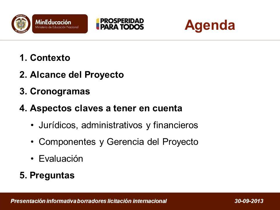 1.Contexto 2.Alcance del Proyecto 3.Cronogramas 4.Aspectos claves a tener en cuenta Jurídicos, administrativos y financieros Componentes y Gerencia de
