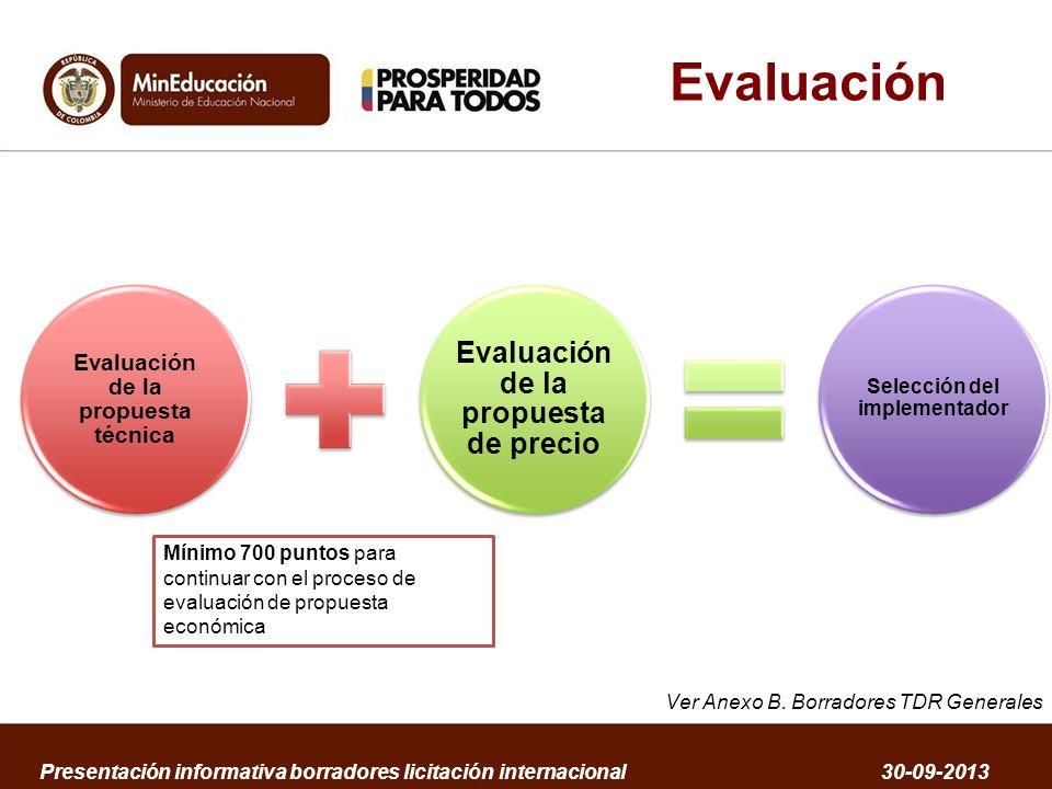 Evaluación Evaluación de la propuesta técnica Evaluación de la propuesta de precio Selección del implementador Presentación informativa borradores lic