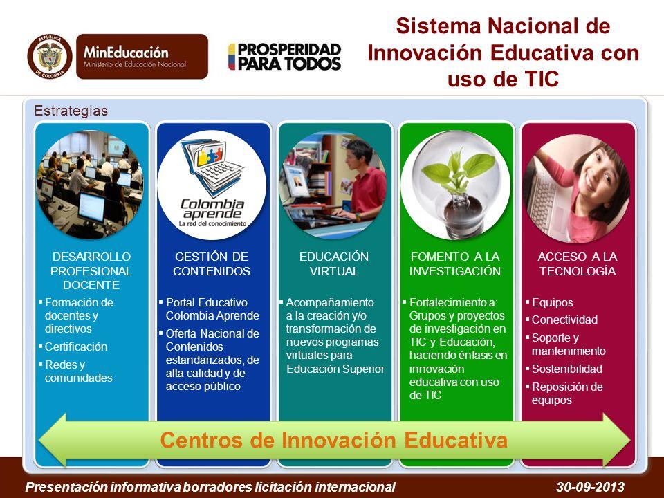 Sistema Nacional de Innovación Educativa con uso de TIC Estrategias DESARROLLO PROFESIONAL DOCENTE Formación de docentes y directivos Certificación Re