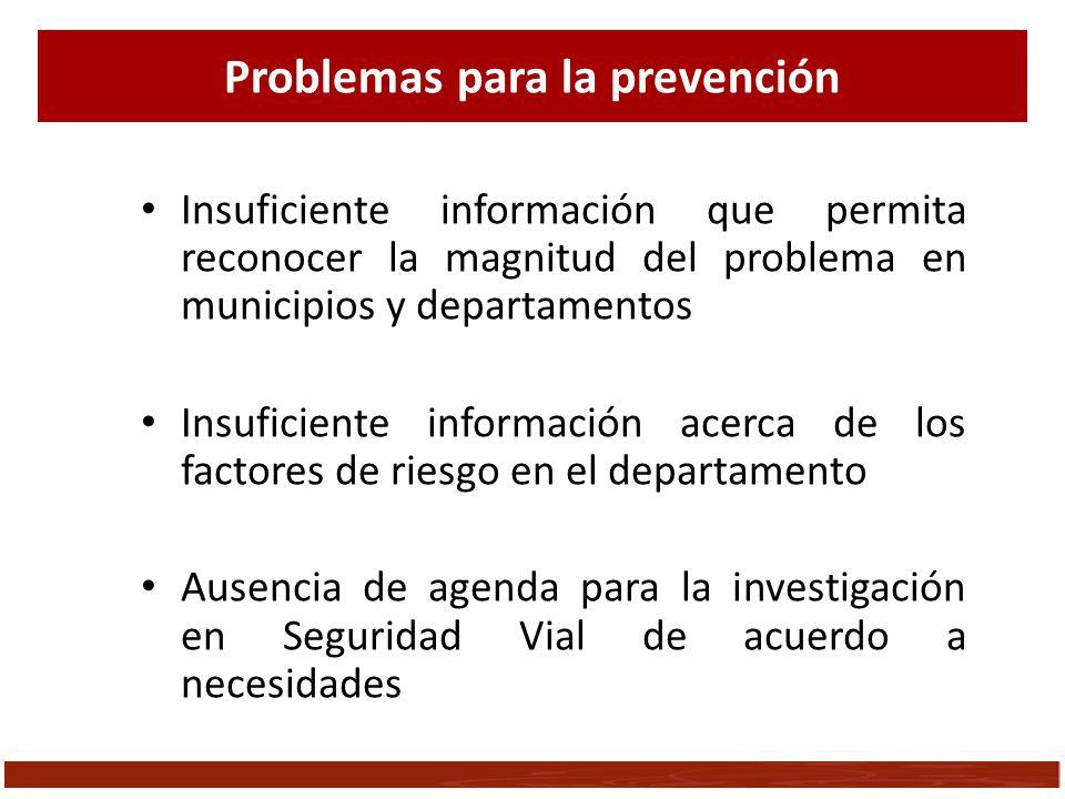 Insuficiente información que permita reconocer la magnitud del problema en municipios y departamentos Insuficiente información acerca de los factores