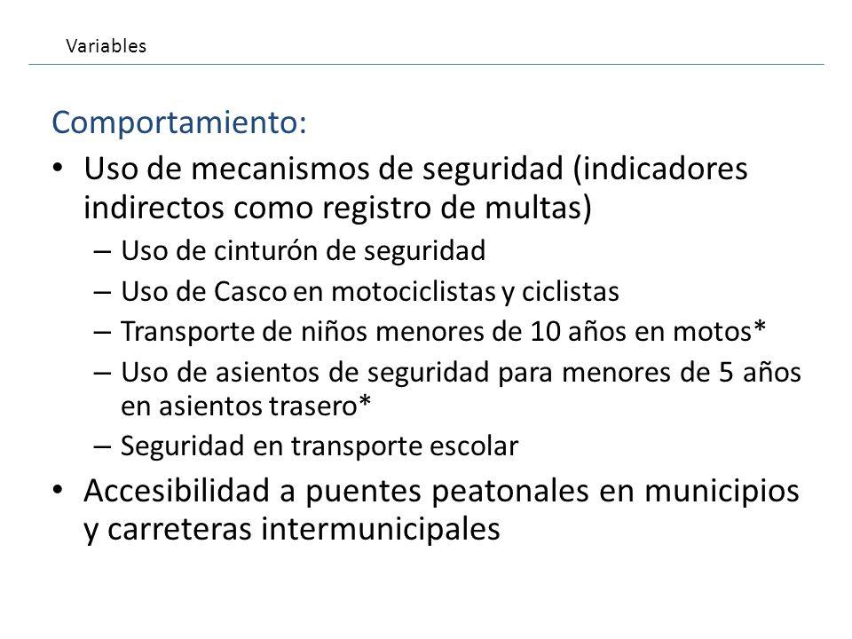 Comportamiento: Uso de mecanismos de seguridad (indicadores indirectos como registro de multas) – Uso de cinturón de seguridad – Uso de Casco en motoc