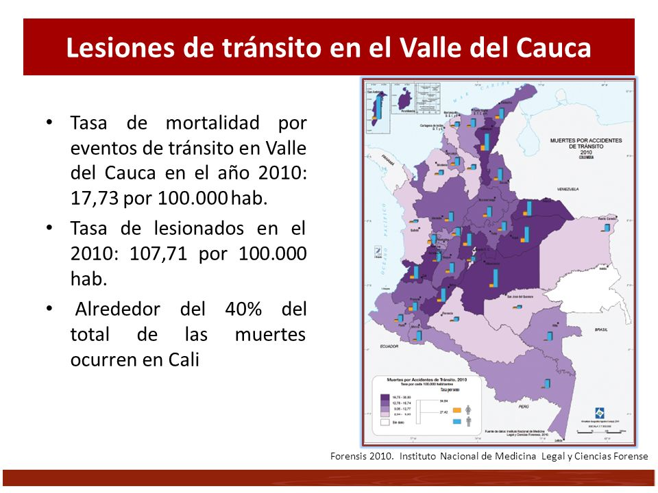 Lesiones de tránsito en el Valle del Cauca Tasa de mortalidad por eventos de tránsito en Valle del Cauca en el año 2010: 17,73 por 100.000 hab. Tasa d