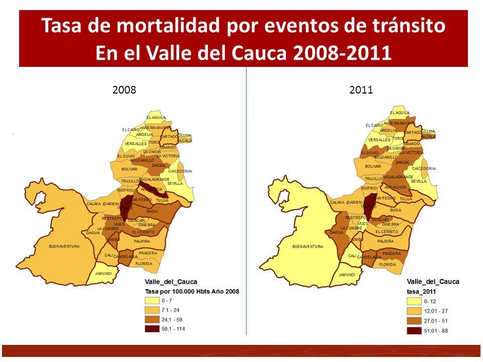 Tasa de mortalidad por eventos de tránsito En el Valle del Cauca 2008-2011 2008 2011