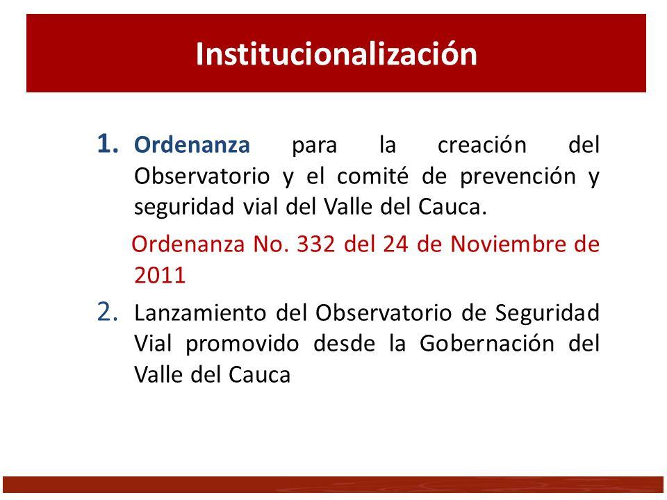 1. Ordenanza para la creación del Observatorio y el comité de prevención y seguridad vial del Valle del Cauca. Ordenanza No. 332 del 24 de Noviembre d