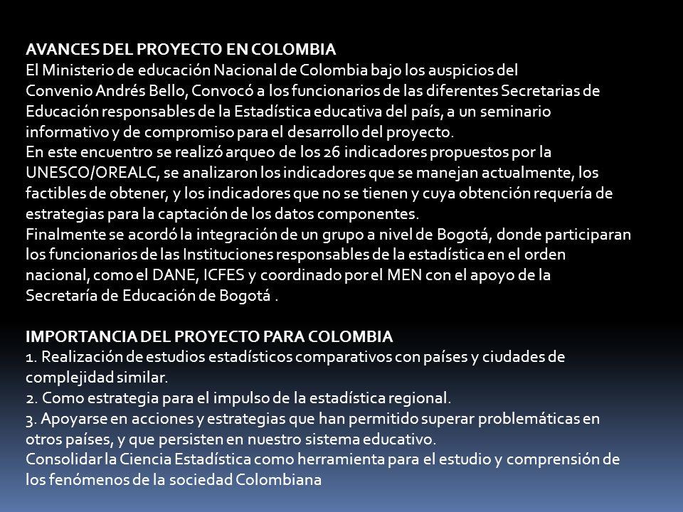 AVANCES DEL PROYECTO EN COLOMBIA El Ministerio de educación Nacional de Colombia bajo los auspicios del Convenio Andrés Bello, Convocó a los funcionarios de las diferentes Secretarias de Educación responsables de la Estadística educativa del país, a un seminario informativo y de compromiso para el desarrollo del proyecto.