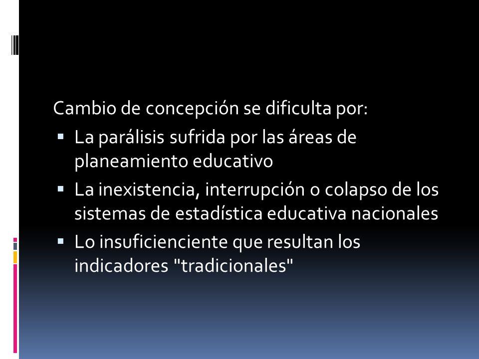 Cambio de concepción se dificulta por: La parálisis sufrida por las áreas de planeamiento educativo La inexistencia, interrupción o colapso de los sistemas de estadística educativa nacionales Lo insuficienciente que resultan los indicadores tradicionales