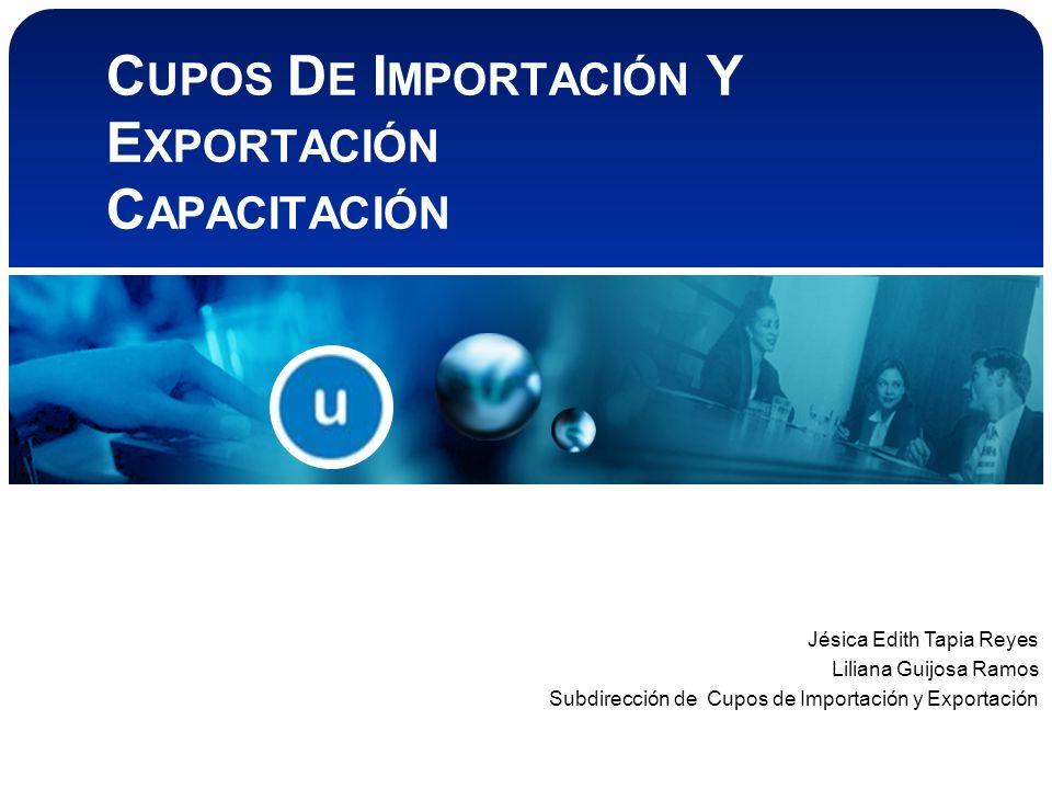 C UPOS D E I MPORTACIÓN Y E XPORTACIÓN C APACITACIÓN Jésica Edith Tapia Reyes Liliana Guijosa Ramos Subdirección de Cupos de Importación y Exportación