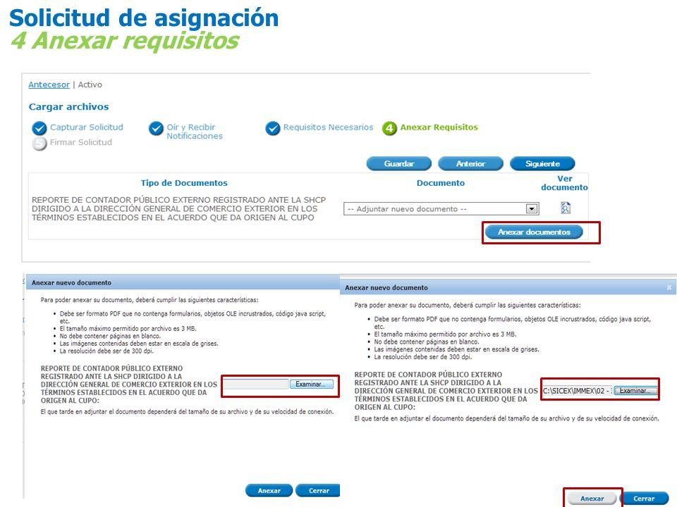 Solicitud de asignación 4 Anexar requisitos
