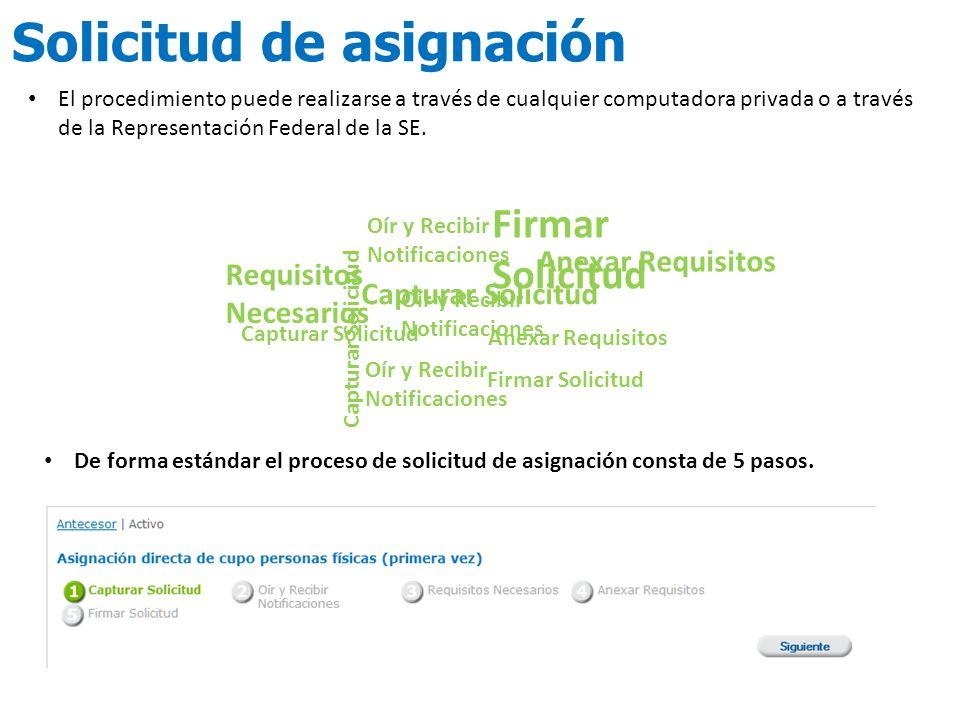 De forma estándar el proceso de solicitud de asignación consta de 5 pasos. El procedimiento puede realizarse a través de cualquier computadora privada