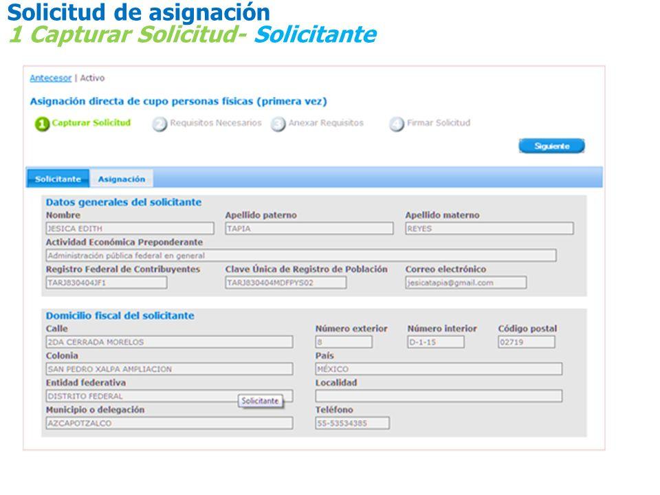 Solicitud de asignación 1 Capturar Solicitud - Asignación Oficina Central no es una oficina válida debe ingresarse la RF a la que corresponde el domicilio fiscal o de planta de la empresa