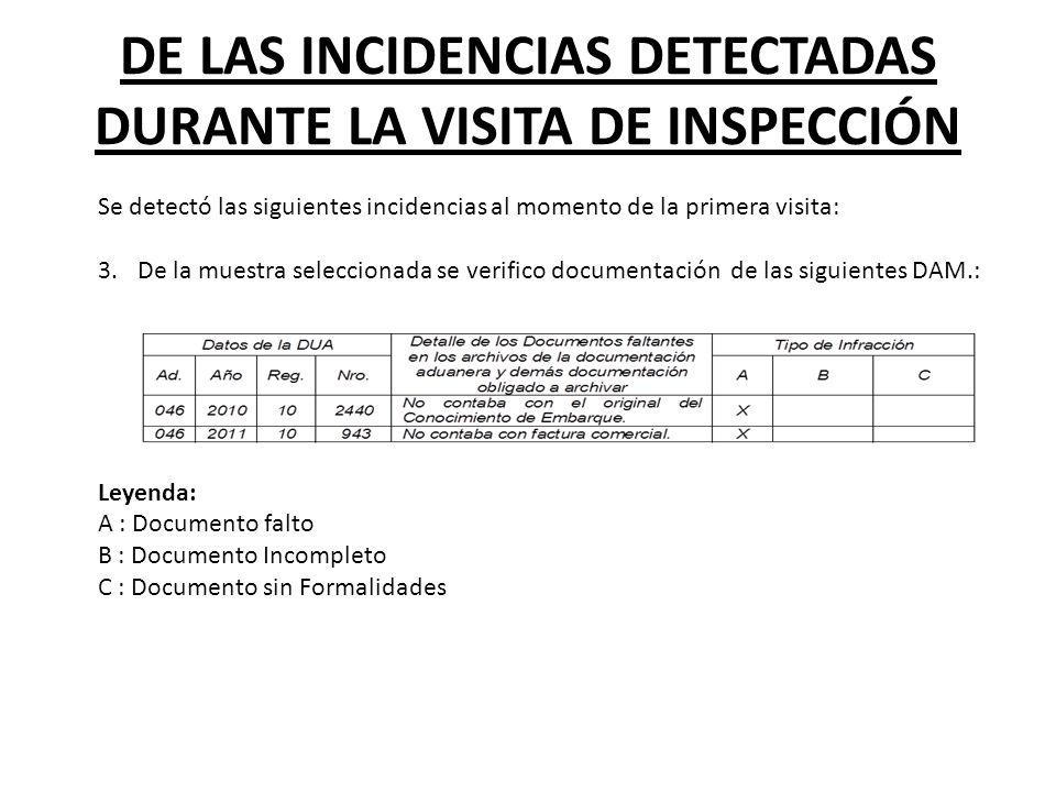 DE LAS INCIDENCIAS DETECTADAS DURANTE LA VISITA DE INSPECCIÓN Se detectó las siguientes incidencias al momento de la primera visita: 3.De la muestra s