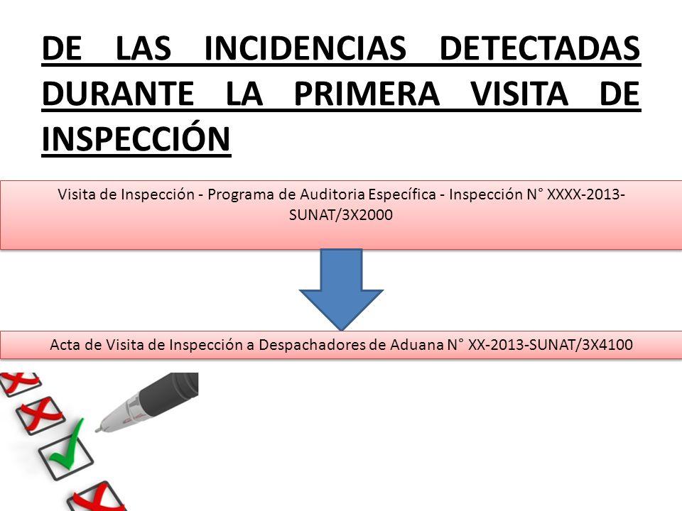 DE LAS INCIDENCIAS DETECTADAS DURANTE LA PRIMERA VISITA DE INSPECCIÓN Visita de Inspección - Programa de Auditoria Específica - Inspección N° XXXX-201