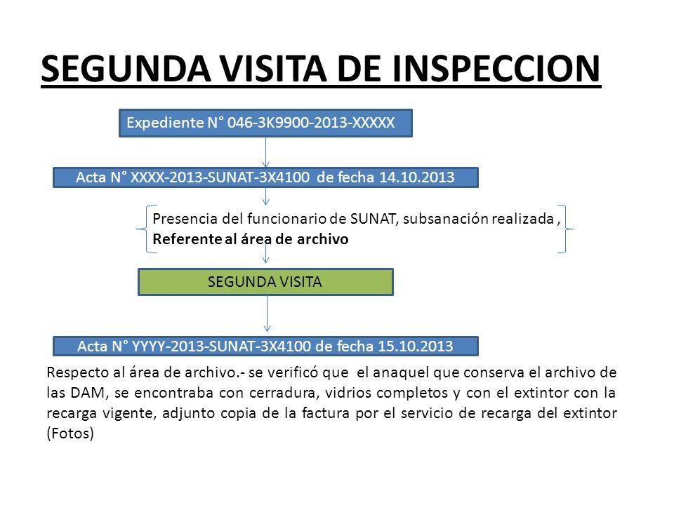 SEGUNDA VISITA DE INSPECCION Respecto al área de archivo.- se verificó que el anaquel que conserva el archivo de las DAM, se encontraba con cerradura,