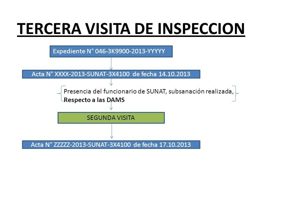 TERCERA VISITA DE INSPECCION Expediente N° 046-3K9900-2013-YYYYY Acta N° XXXX-2013-SUNAT-3X4100 de fecha 14.10.2013 Presencia del funcionario de SUNAT